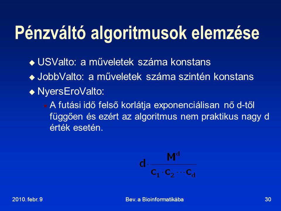 2010. febr. 9Bev. a Bioinformatikába30 Pénzváltó algoritmusok elemzése  USValto: a műveletek száma konstans  JobbValto: a műveletek száma szintén ko