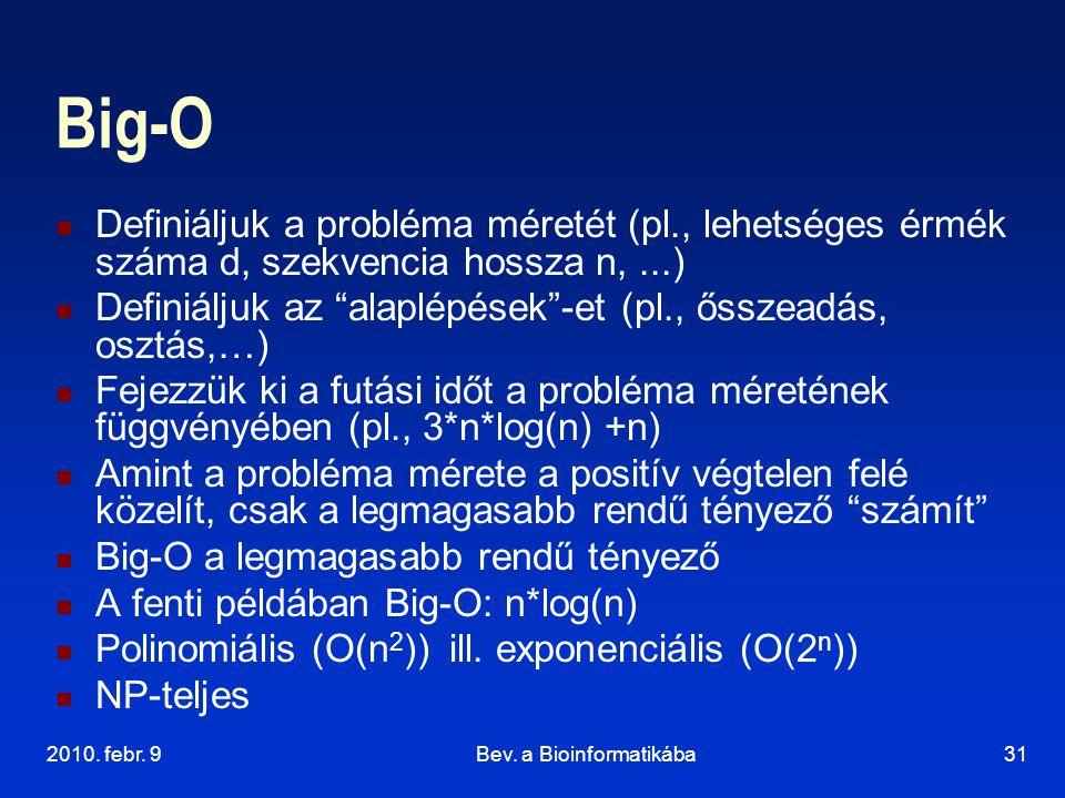 """2010. febr. 9Bev. a Bioinformatikába31 Big-O Definiáljuk a probléma méretét (pl., lehetséges érmék száma d, szekvencia hossza n,...) Definiáljuk az """"a"""