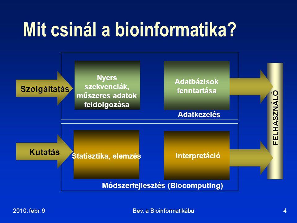 2010. febr. 9Bev. a Bioinformatikába4 Mit csinál a bioinformatika? FELHASZNÁLÓ Statisztika, elemzés Interpretáció Nyers szekvenciák, műszeres adatok f