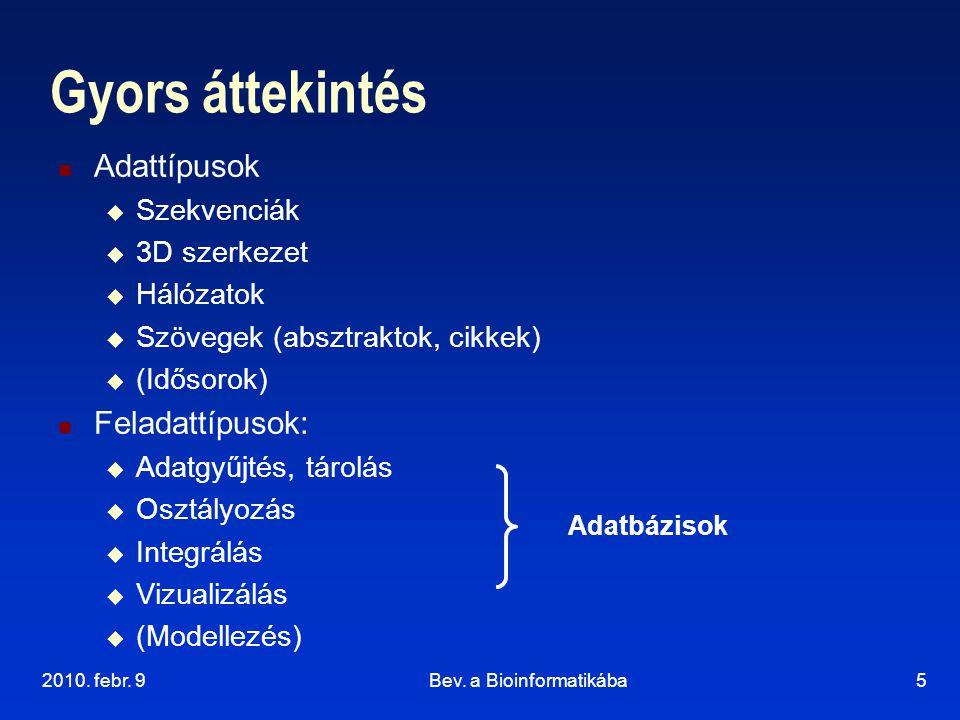 2010. febr. 9Bev. a Bioinformatikába5 Gyors áttekintés Adattípusok  Szekvenciák  3D szerkezet  Hálózatok  Szövegek (absztraktok, cikkek)  (Idősor