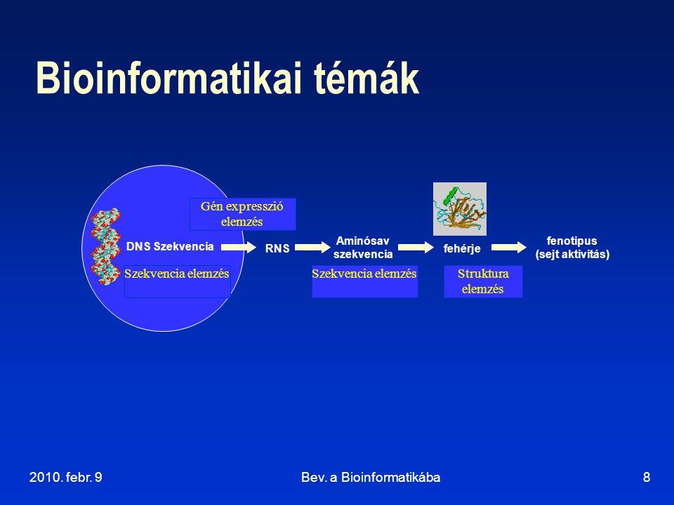 2010. febr. 9Bev. a Bioinformatikába8 Bioinformatikai témák DNS Szekvencia RNS fenotipus (sejt aktivitás) fehérje Szekvencia elemzésStruktura elemzés
