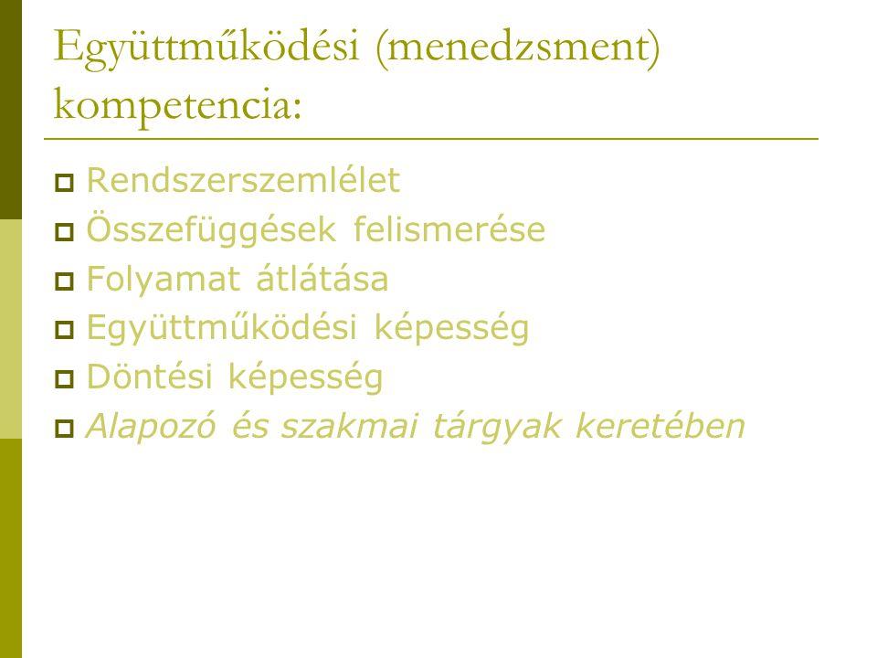 Együttműködési (menedzsment) kompetencia:  Rendszerszemlélet  Összefüggések felismerése  Folyamat átlátása  Együttműködési képesség  Döntési képesség  Alapozó és szakmai tárgyak keretében