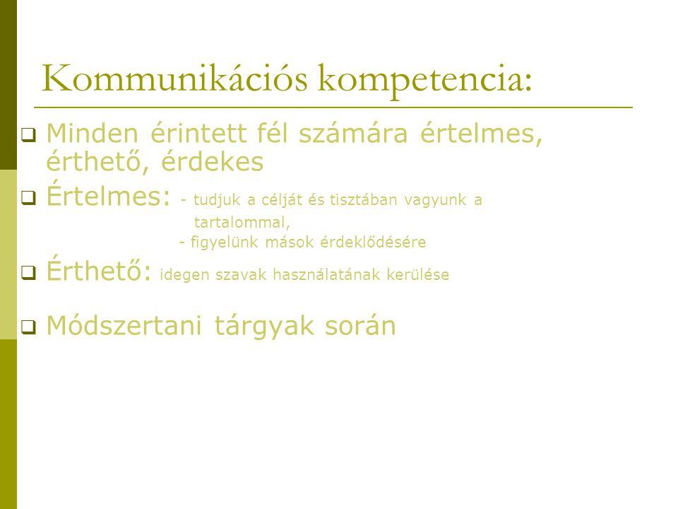 Kommunikációs kompetencia:  Minden érintett fél számára értelmes, érthető, érdekes  Értelmes: - tudjuk a célját és tisztában vagyunk a tartalommal, - figyelünk mások érdeklődésére  Érthető: idegen szavak használatának kerülése  Módszertani tárgyak során