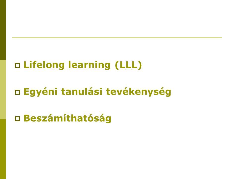  Lifelong learning (LLL)  Egyéni tanulási tevékenység  Beszámíthatóság