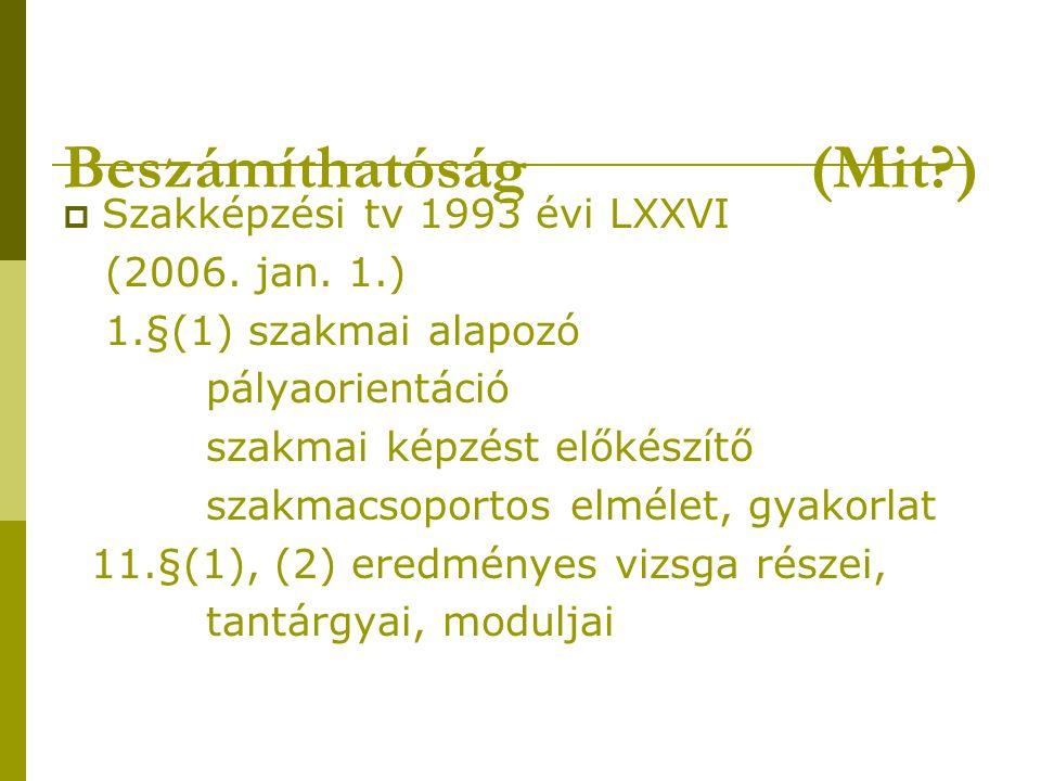 Beszámíthatóság (Mit?)  Szakképzési tv 1993 évi LXXVI (2006.