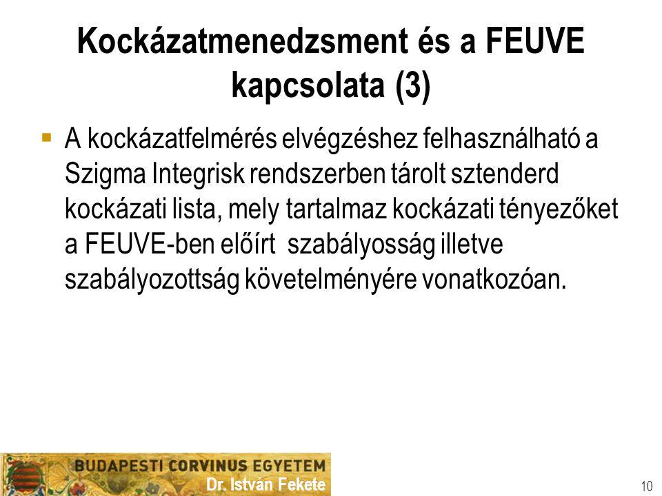 Dr. István Fekete 10 Kockázatmenedzsment és a FEUVE kapcsolata (3)  A kockázatfelmérés elvégzéshez felhasználható a Szigma Integrisk rendszerben táro