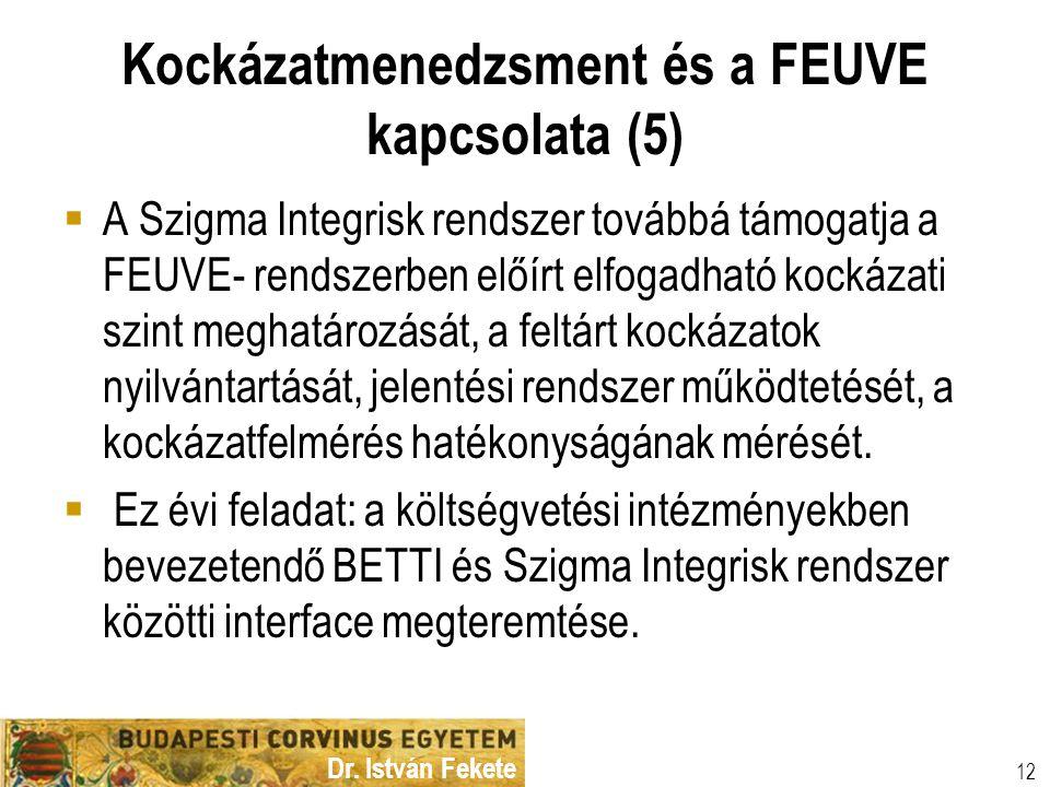 Dr. István Fekete 12 Kockázatmenedzsment és a FEUVE kapcsolata (5)  A Szigma Integrisk rendszer továbbá támogatja a FEUVE- rendszerben előírt elfogad