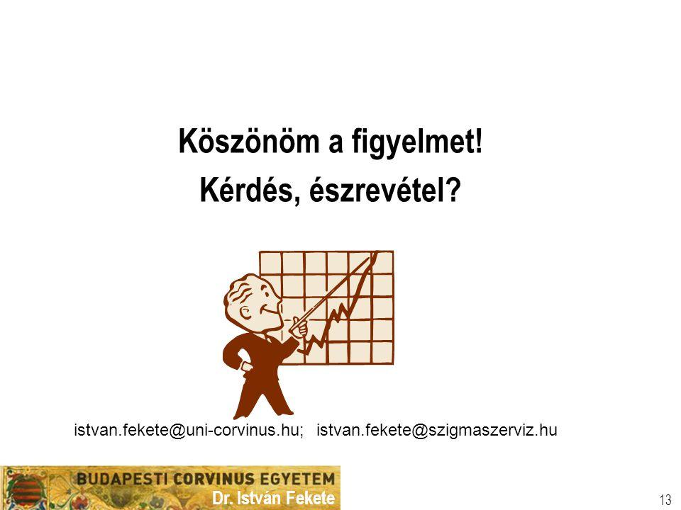 Dr. István Fekete 13 Köszönöm a figyelmet! Kérdés, észrevétel? istvan.fekete@uni-corvinus.hu; istvan.fekete@szigmaszerviz.hu