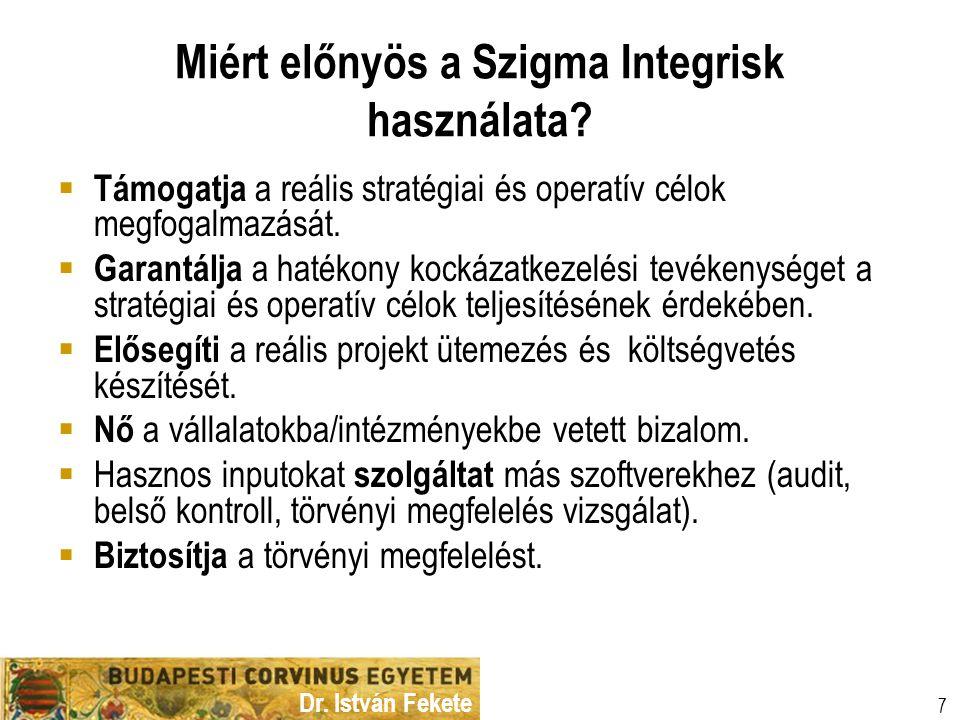 Dr. István Fekete 7 Miért előnyös a Szigma Integrisk használata?  Támogatja a reális stratégiai és operatív célok megfogalmazását.  Garantálja a hat