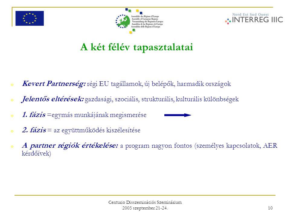 Centurio Disszeminációs Szeminárium 2005 szeptember 21-24. 10 A két félév tapasztalatai o Kevert Partnerség: régi EU tagállamok, új belépők, harmadik
