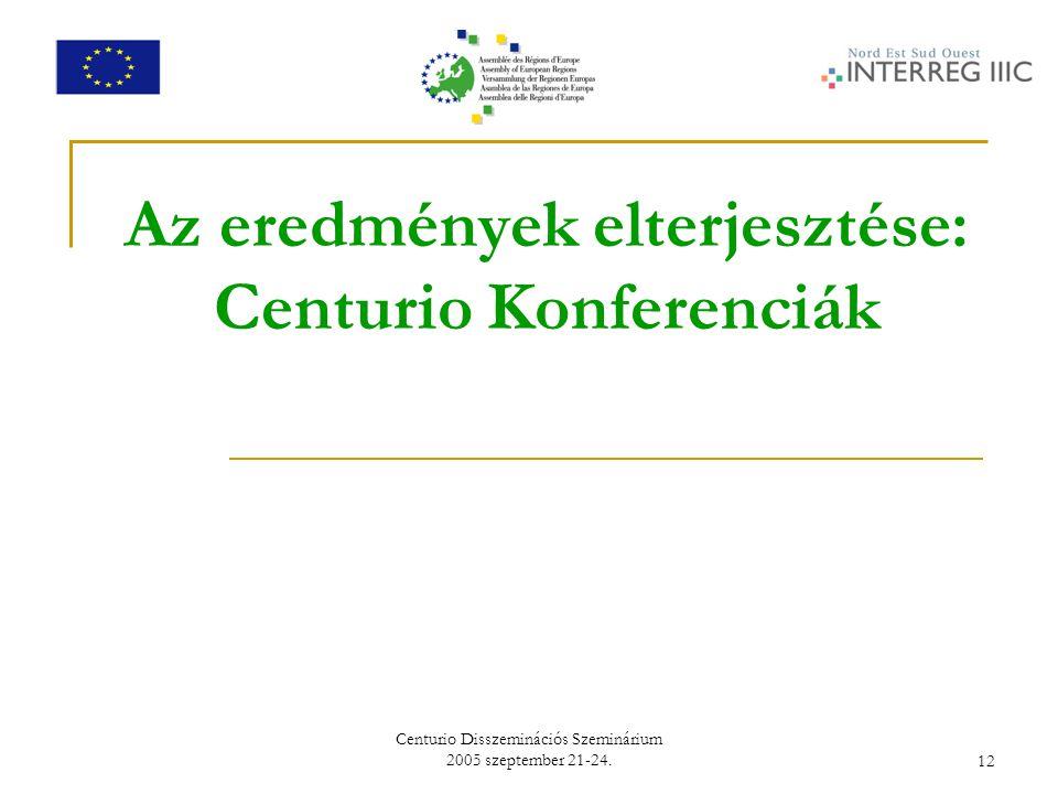 Centurio Disszeminációs Szeminárium 2005 szeptember 21-24.12 Az eredmények elterjesztése: Centurio Konferenciák