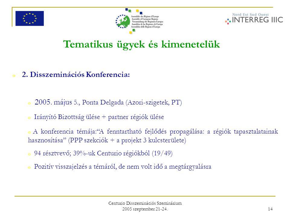Centurio Disszeminációs Szeminárium 2005 szeptember 21-24. 14 Tematikus ügyek és kimenetelük o 2. Disszeminációs Konferencia: o 2005. május 5., Ponta