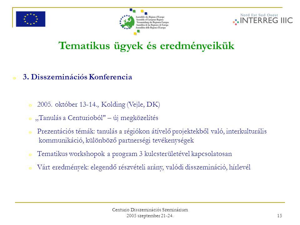 Centurio Disszeminációs Szeminárium 2005 szeptember 21-24. 15 Tematikus ügyek és eredményeikük o 3. Disszeminációs Konferencia o 2005. október 13-14.,