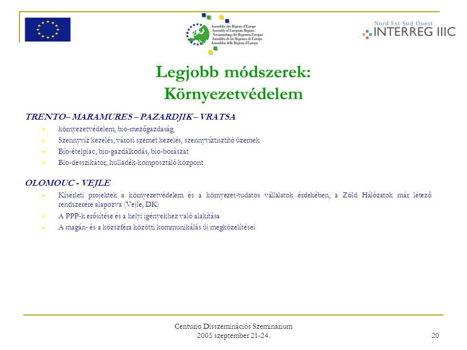 Centurio Disszeminációs Szeminárium 2005 szeptember 21-24. 20 Legjobb módszerek: Környezetvédelem TRENTO– MARAMURES – PAZARDJIK – VRATSA  környezetvé