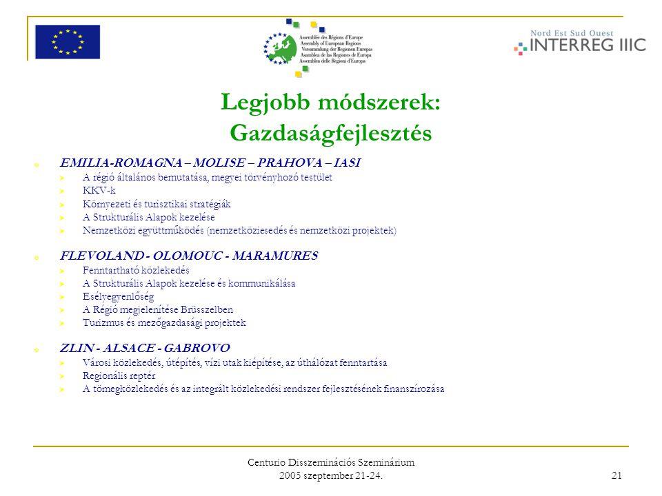 Centurio Disszeminációs Szeminárium 2005 szeptember 21-24. 21 Legjobb módszerek: Gazdaságfejlesztés o EMILIA-ROMAGNA – MOLISE – PRAHOVA – IASI  A rég