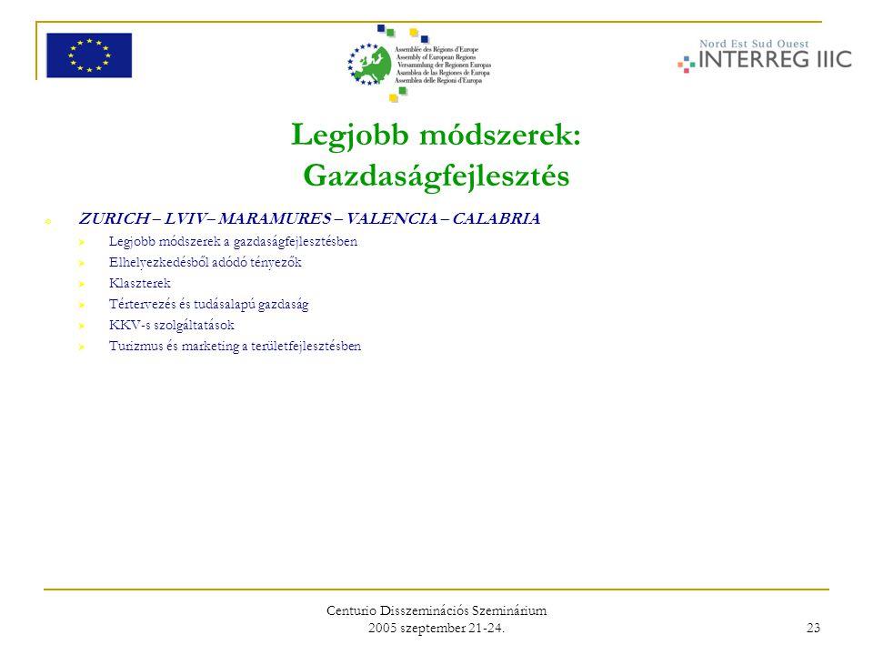 Centurio Disszeminációs Szeminárium 2005 szeptember 21-24. 23 Legjobb módszerek: Gazdaságfejlesztés o ZURICH – LVIV– MARAMURES – VALENCIA – CALABRIA 