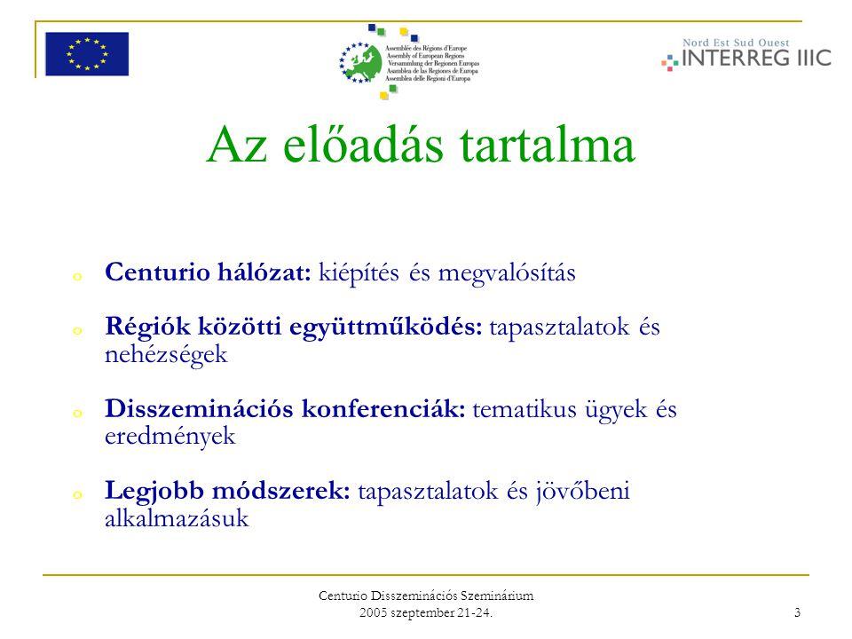 Centurio Disszeminációs Szeminárium 2005 szeptember 21-24. 3 Az előadás tartalma o Centurio hálózat: kiépítés és megvalósítás o Régiók közötti együttm