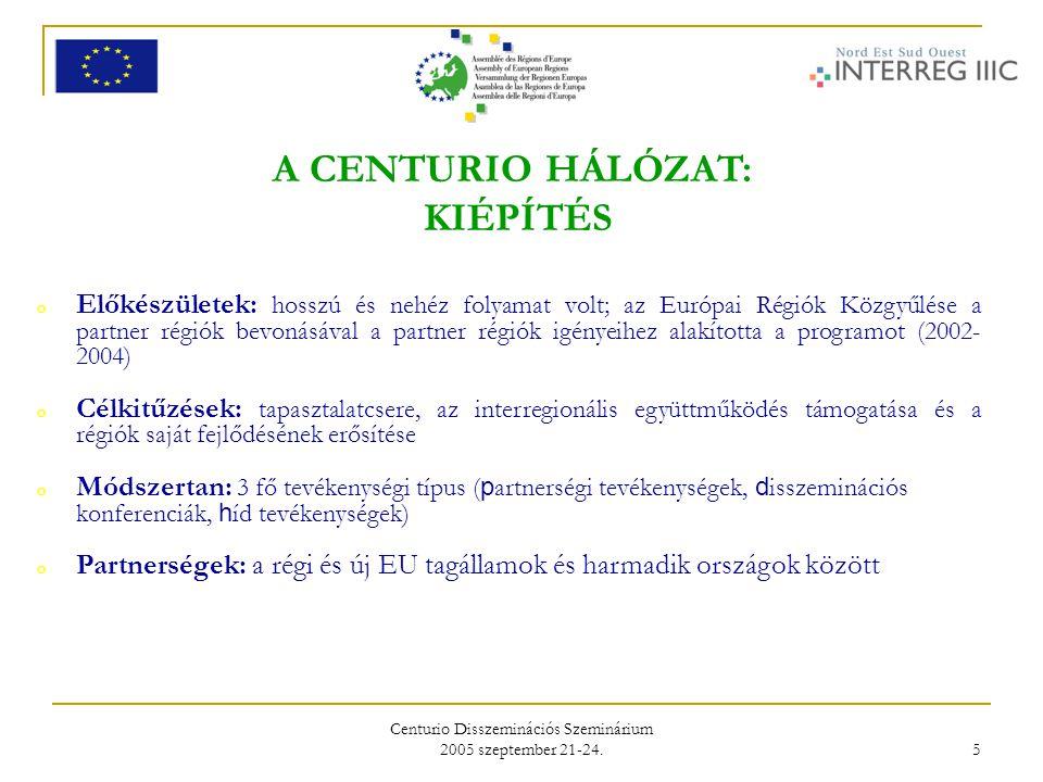 Centurio Disszeminációs Szeminárium 2005 szeptember 21-24. 5 A CENTURIO HÁLÓZAT: KIÉPÍTÉS o Előkészületek: hosszú és nehéz folyamat volt; az Európai R