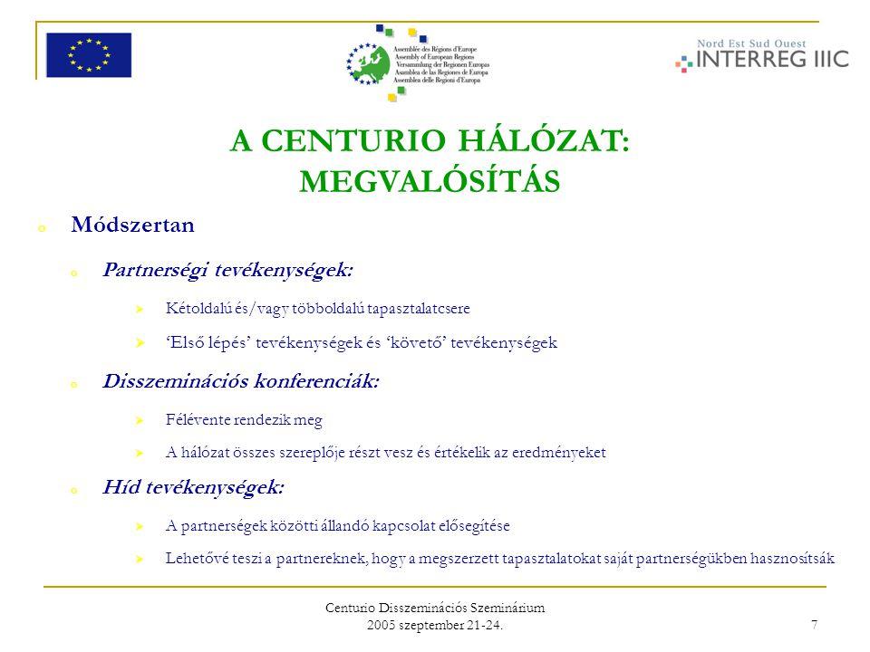 Centurio Disszeminációs Szeminárium 2005 szeptember 21-24. 7 A CENTURIO HÁLÓZAT: MEGVALÓSÍTÁS o Módszertan o Partnerségi tevékenységek:  Kétoldalú és