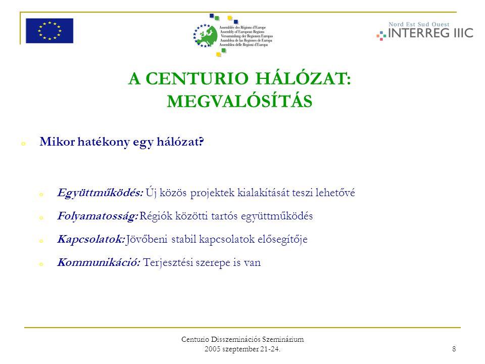Centurio Disszeminációs Szeminárium 2005 szeptember 21-24. 8 A CENTURIO HÁLÓZAT: MEGVALÓSÍTÁS o Mikor hatékony egy hálózat? o Együttműködés: Új közös