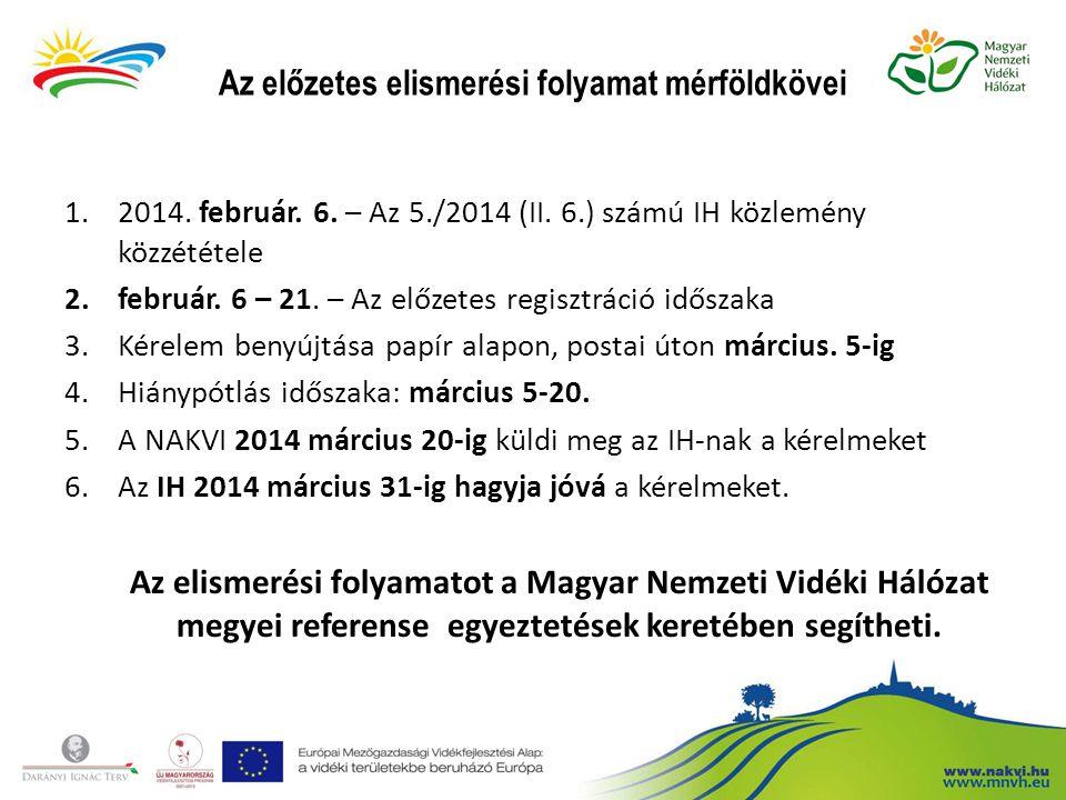 Az előzetes elismerési folyamat mérföldkövei 1.2014. február. 6. – Az 5./2014 (II. 6.) számú IH közlemény közzététele 2.február. 6 – 21. – Az előzetes