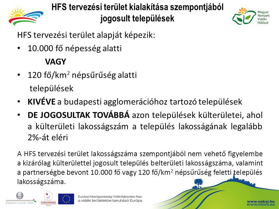 HFS tervezési terület kialakítása szempontjából jogosult települések HFS tervezési terület alapját képezik: 10.000 fő népesség alatti VAGY 120 fő/km 2