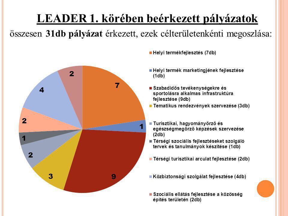 LEADER 1. körében beérkezett pályázatok összesen 31db pályázat érkezett, ezek célterületenkénti megoszlása: