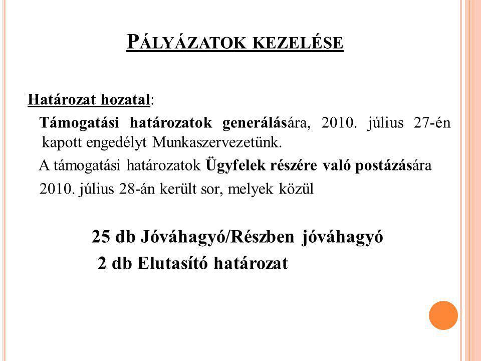 P ÁLYÁZATOK KEZELÉSE Határozat hozatal: Támogatási határozatok generálására, 2010. július 27-én kapott engedélyt Munkaszervezetünk. A támogatási határ