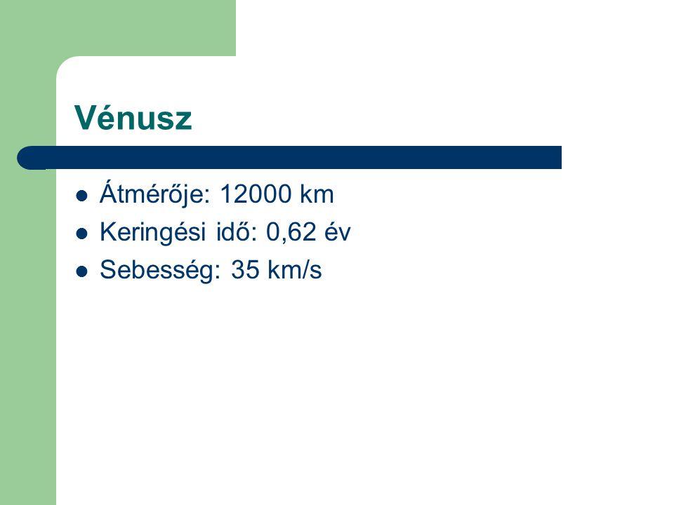 Vénusz Átmérője: 12000 km Keringési idő: 0,62 év Sebesség: 35 km/s