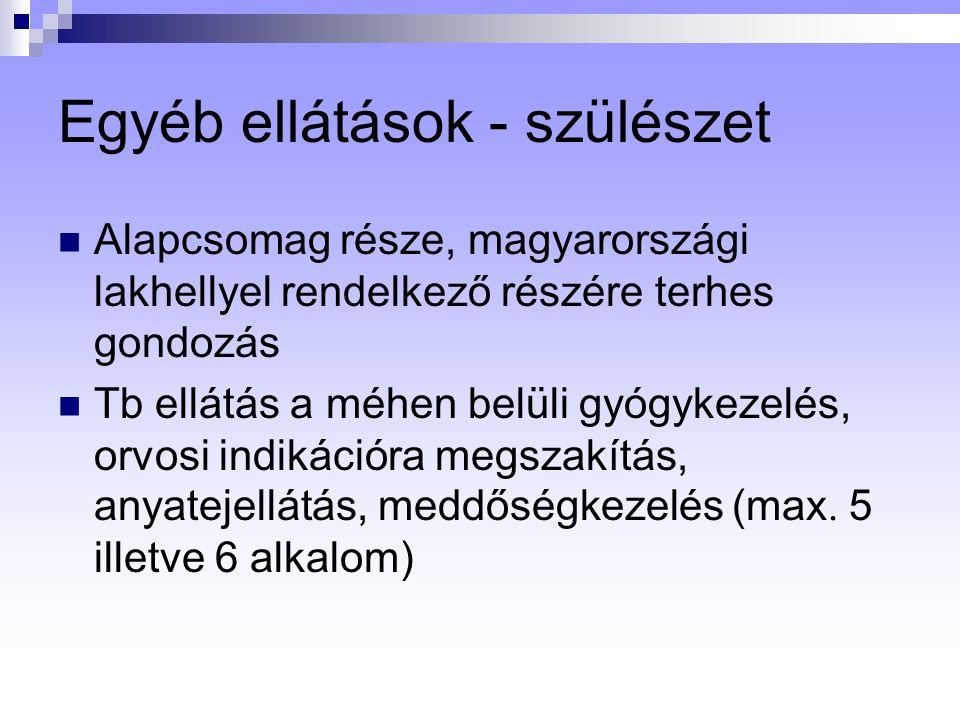 Egyéb ellátások - szülészet Alapcsomag része, magyarországi lakhellyel rendelkező részére terhes gondozás Tb ellátás a méhen belüli gyógykezelés, orvosi indikációra megszakítás, anyatejellátás, meddőségkezelés (max.