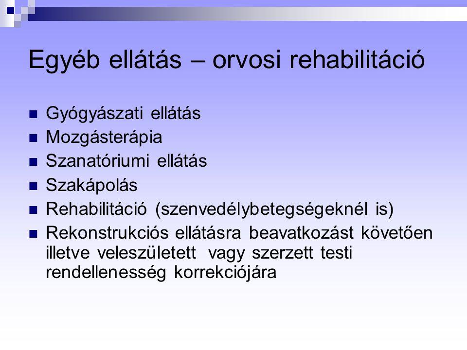 Egyéb ellátás – orvosi rehabilitáció Gyógyászati ellátás Mozgásterápia Szanatóriumi ellátás Szakápolás Rehabilitáció (szenvedélybetegségeknél is) Rekonstrukciós ellátásra beavatkozást követően illetve veleszületett vagy szerzett testi rendellenesség korrekciójára