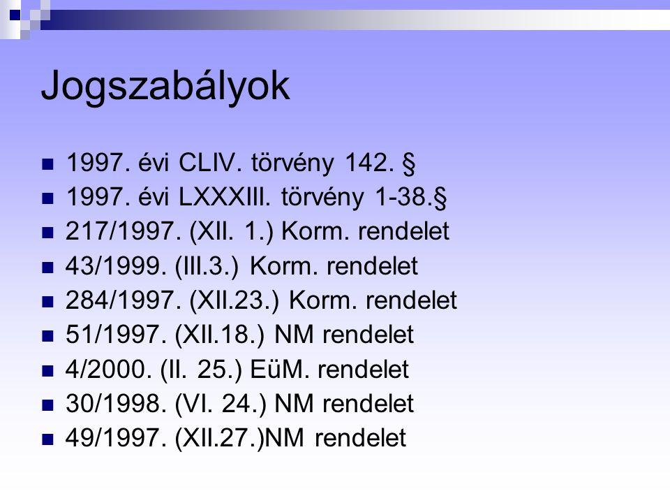 Jogszabályok 1997.évi CLIV. törvény 142. § 1997. évi LXXXIII.