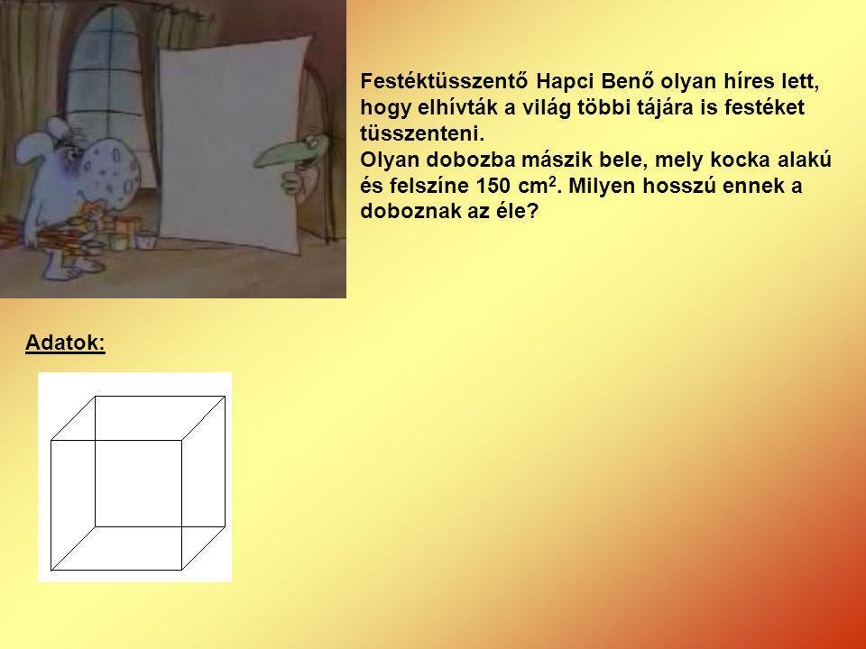 Festéktüsszentő Hapci Benő olyan híres lett, hogy elhívták a világ többi tájára is festéket tüsszenteni. Olyan dobozba mászik bele, mely kocka alakú é