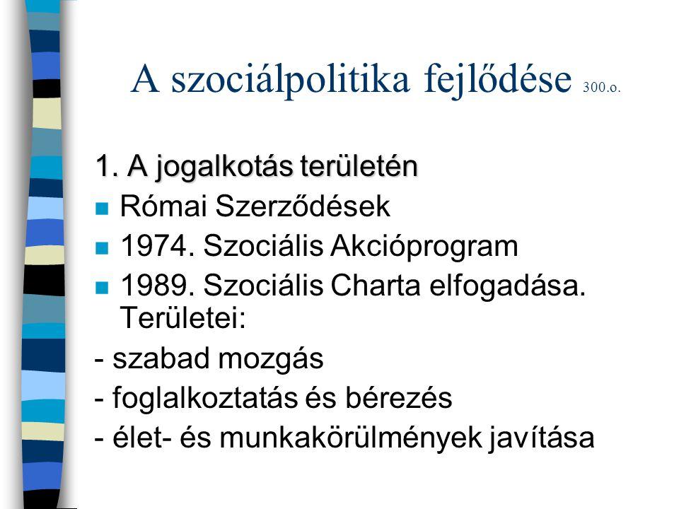 A szociálpolitika fejlődése 300.o. 1. A jogalkotás területén n Római Szerződések n 1974. Szociális Akcióprogram n 1989. Szociális Charta elfogadása. T