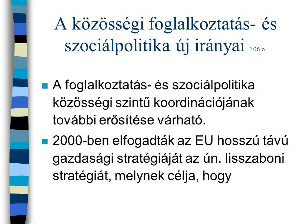 A közösségi foglalkoztatás- és szociálpolitika új irányai 306.o. n A foglalkoztatás- és szociálpolitika közösségi szintű koordinációjának további erős