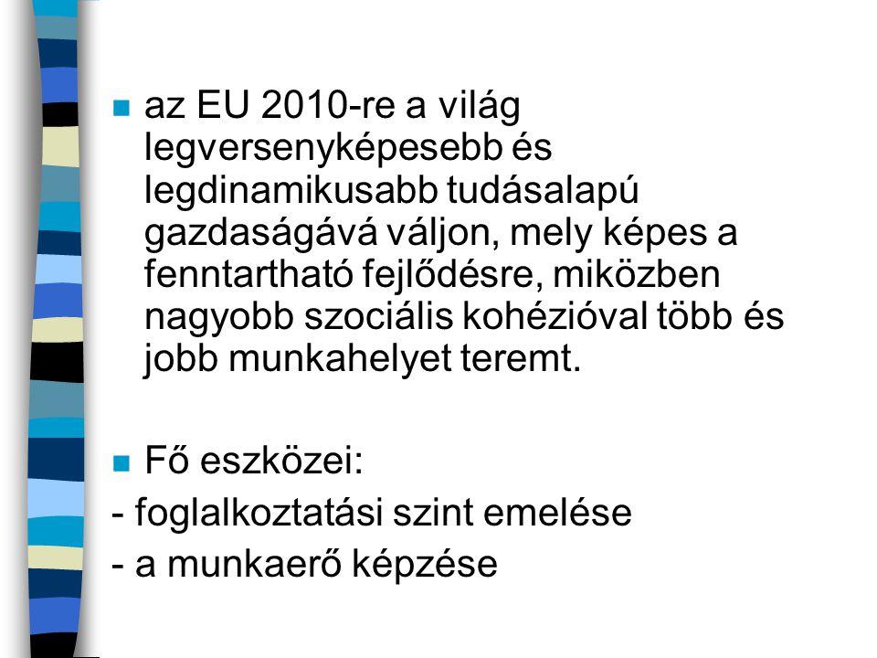 n az EU 2010-re a világ legversenyképesebb és legdinamikusabb tudásalapú gazdaságává váljon, mely képes a fenntartható fejlődésre, miközben nagyobb sz