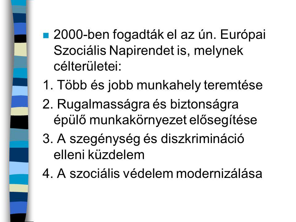 n 2000-ben fogadták el az ún. Európai Szociális Napirendet is, melynek célterületei: 1. Több és jobb munkahely teremtése 2. Rugalmasságra és biztonság