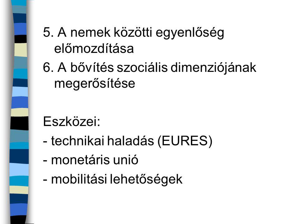 5. A nemek közötti egyenlőség előmozdítása 6. A bővítés szociális dimenziójának megerősítése Eszközei: - technikai haladás (EURES) - monetáris unió -