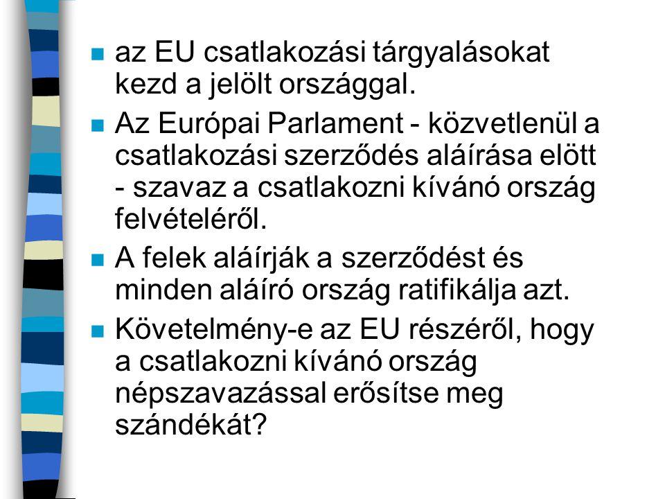 n az EU csatlakozási tárgyalásokat kezd a jelölt országgal. n Az Európai Parlament - közvetlenül a csatlakozási szerződés aláírása elött - szavaz a cs