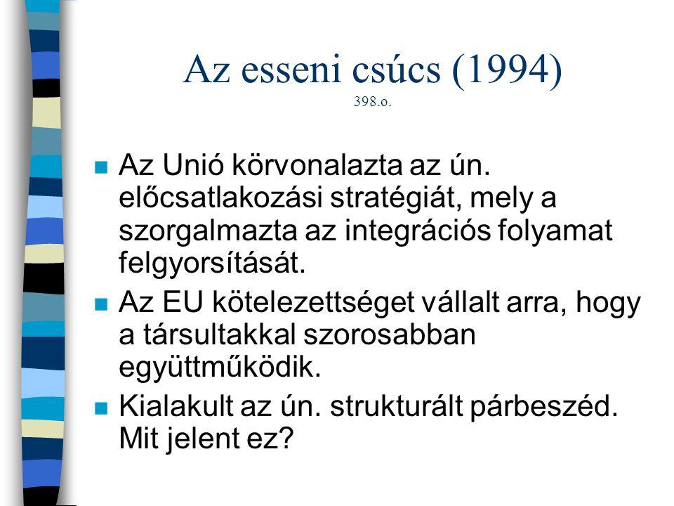 Az esseni csúcs (1994) 398.o. n Az Unió körvonalazta az ún. előcsatlakozási stratégiát, mely a szorgalmazta az integrációs folyamat felgyorsítását. n