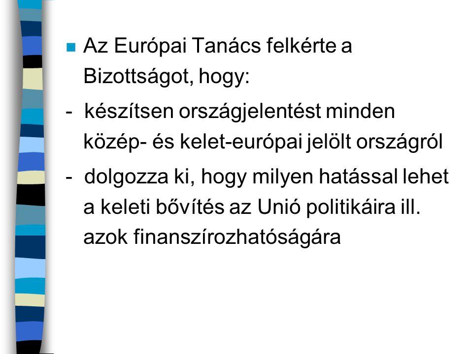 n Az Európai Tanács felkérte a Bizottságot, hogy: - készítsen országjelentést minden közép- és kelet-európai jelölt országról - dolgozza ki, hogy mily