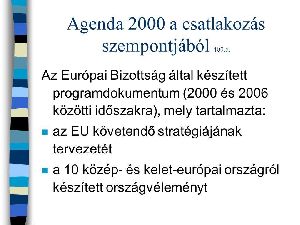 Agenda 2000 a csatlakozás szempontjából 400.o. Az Európai Bizottság által készített programdokumentum (2000 és 2006 közötti időszakra), mely tartalmaz