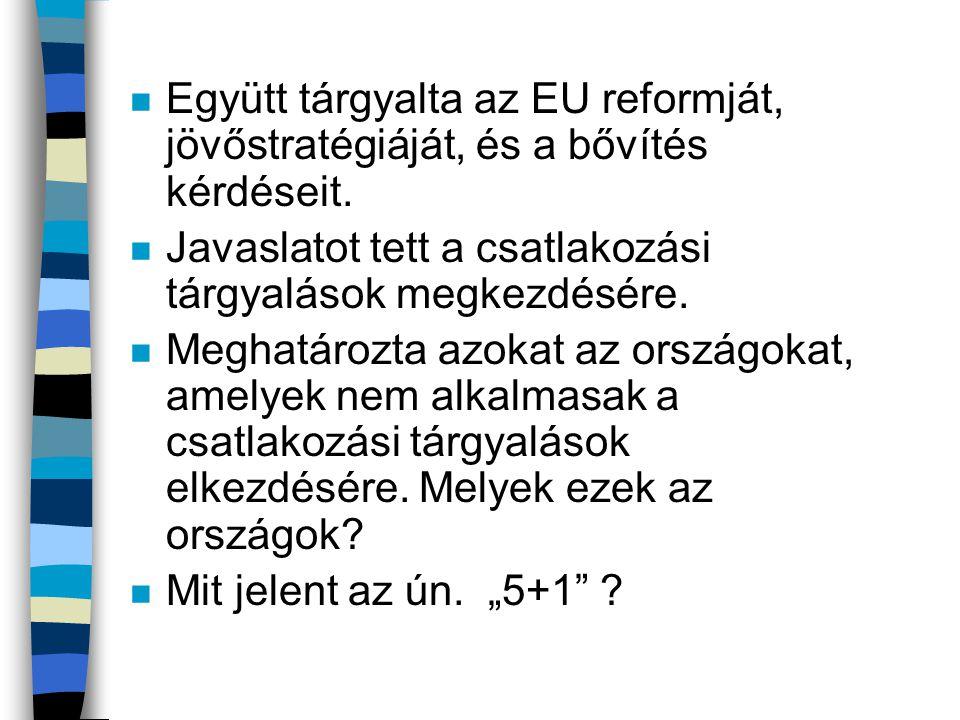 n Együtt tárgyalta az EU reformját, jövőstratégiáját, és a bővítés kérdéseit. n Javaslatot tett a csatlakozási tárgyalások megkezdésére. n Meghatározt