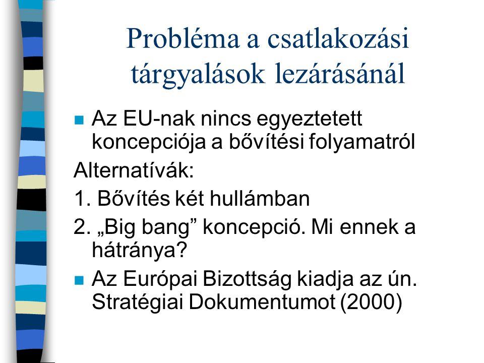 Probléma a csatlakozási tárgyalások lezárásánál n Az EU-nak nincs egyeztetett koncepciója a bővítési folyamatról Alternatívák: 1. Bővítés két hullámba