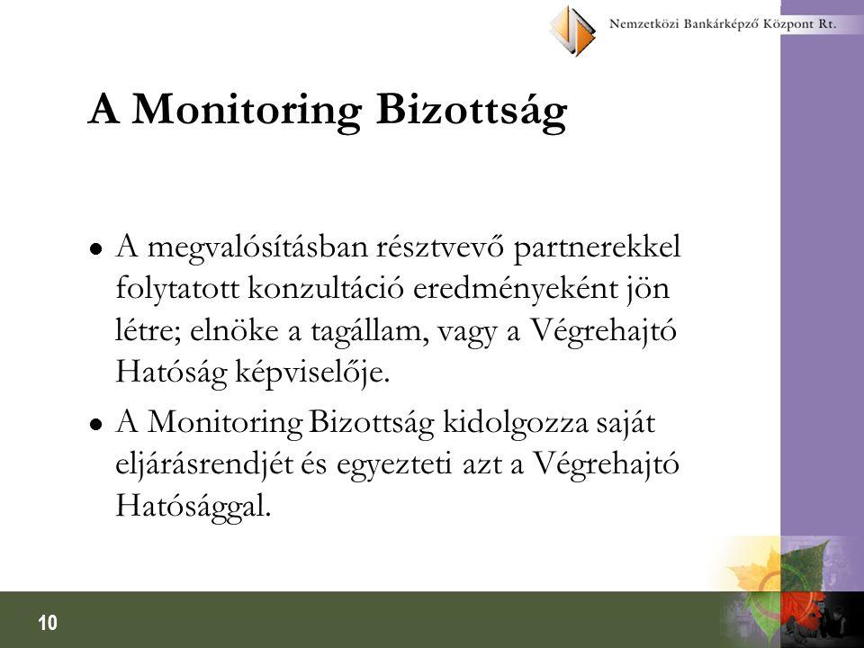 10 A Monitoring Bizottság A megvalósításban résztvevő partnerekkel folytatott konzultáció eredményeként jön létre; elnöke a tagállam, vagy a Végrehajtó Hatóság képviselője.