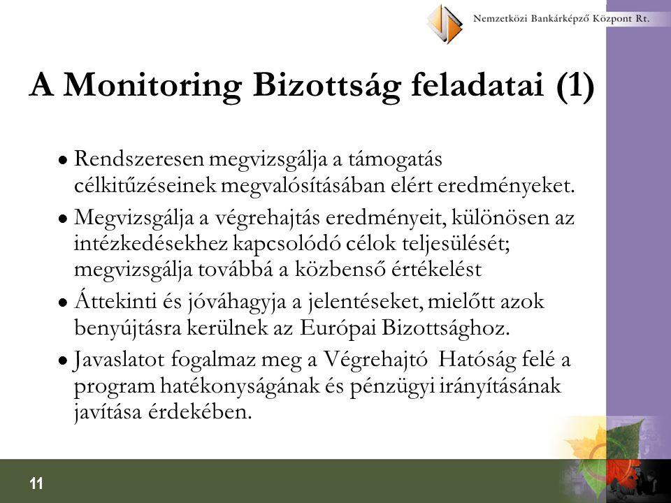 11 A Monitoring Bizottság feladatai (1) l Rendszeresen megvizsgálja a támogatás célkitűzéseinek megvalósításában elért eredményeket.