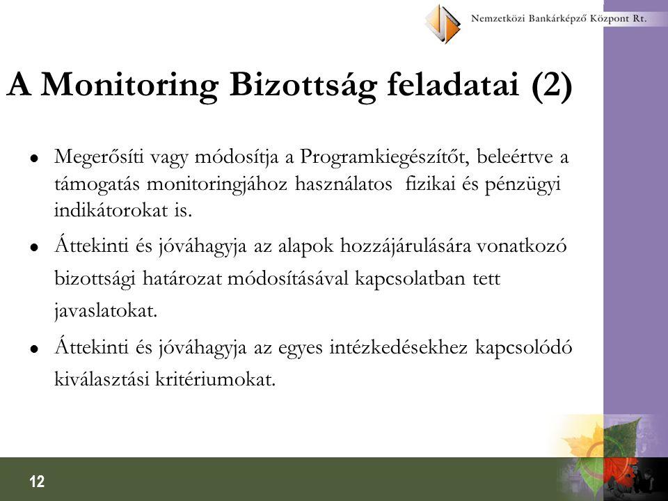 12 A Monitoring Bizottság feladatai (2) l Megerősíti vagy módosítja a Programkiegészítőt, beleértve a támogatás monitoringjához használatos fizikai és pénzügyi indikátorokat is.