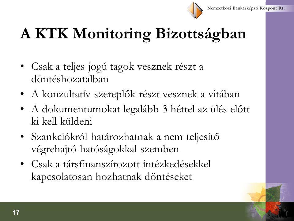 17 A KTK Monitoring Bizottságban Csak a teljes jogú tagok vesznek részt a döntéshozatalban A konzultatív szereplők részt vesznek a vitában A dokumentumokat legalább 3 héttel az ülés előtt ki kell küldeni Szankciókról határozhatnak a nem teljesítő végrehajtó hatóságokkal szemben Csak a társfinanszírozott intézkedésekkel kapcsolatosan hozhatnak döntéseket