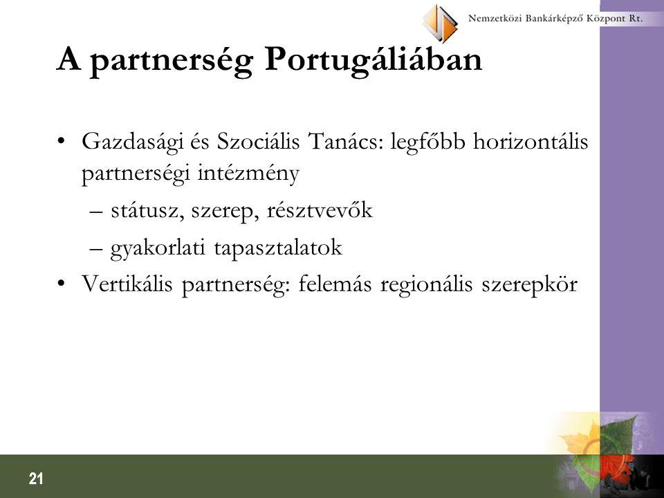 21 A partnerség Portugáliában Gazdasági és Szociális Tanács: legfőbb horizontális partnerségi intézmény –státusz, szerep, résztvevők –gyakorlati tapasztalatok Vertikális partnerség: felemás regionális szerepkör