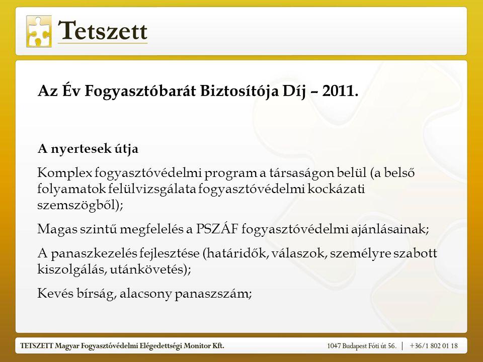 Az Év Fogyasztóbarát Biztosítója Díj – 2011. A nyertesek útja Komplex fogyasztóvédelmi program a társaságon belül (a belső folyamatok felülvizsgálata